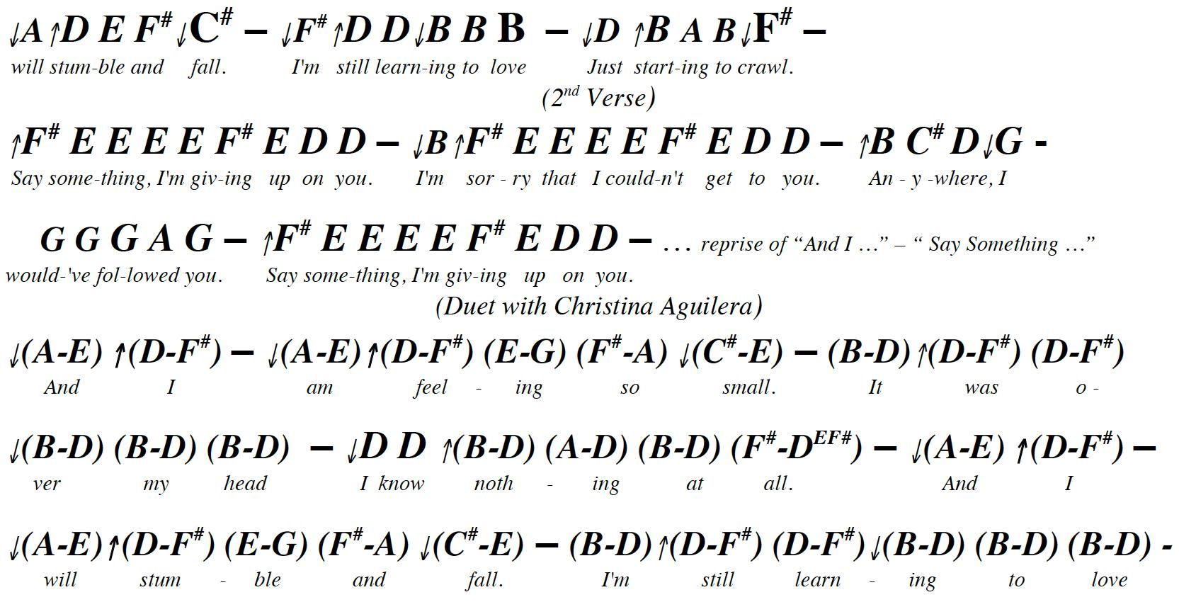 say something piano chords pdf